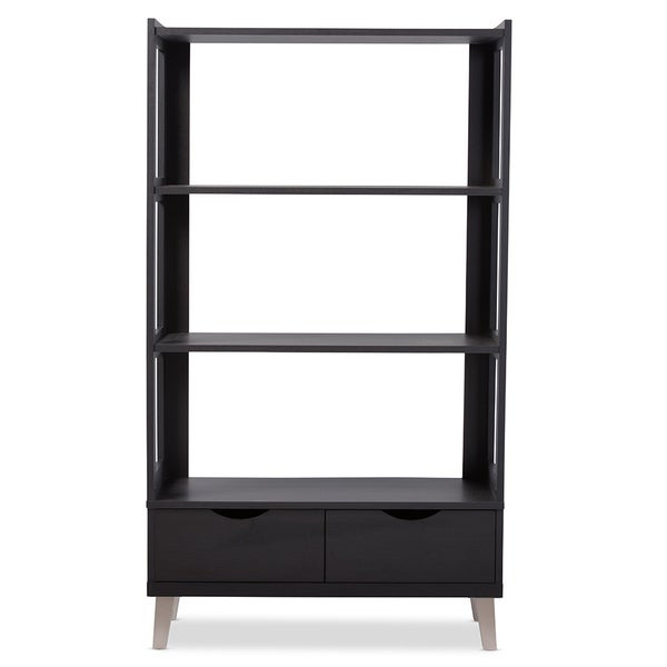 baxton studio kalien dark brown wood leaning bookcase with display shelves and two drawers free shipping today