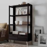 Baxton Studio Kalien Contemporary Dark Brown Wood Leaning Bookcase with Display Shelves and Two Drawers