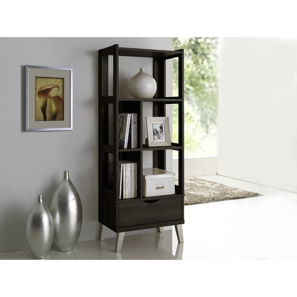 Baxton Studio Kalien Contemporary Dark Brown Wood Leaning Bookcase With Display Shelves And One Drawer