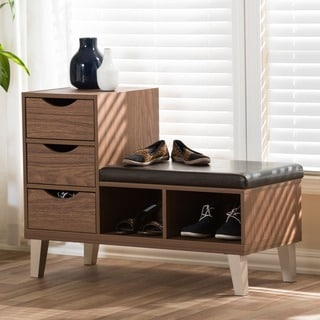Arielle modern 3 drawer shoe storage padded seating bench for Arelle ikea