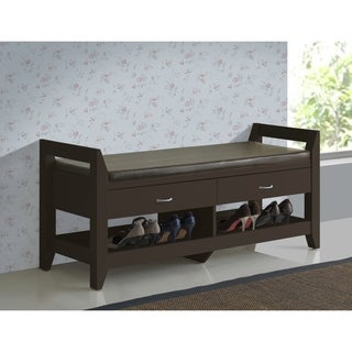 Baxton Studio Maurine Contemporary Dark Brown Wood 2-drawer/ 2-shelf Shoe Storage with Padded Leatherette Bench