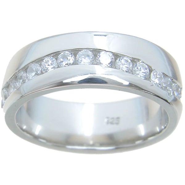 Sterling Silver High Polish Round Cut CZ 1.25 TCW Wedding Band