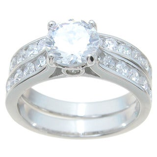 Sterling Silver High Polish Round Cut CZ 2 TCW Classic Style Wedding Ring Set