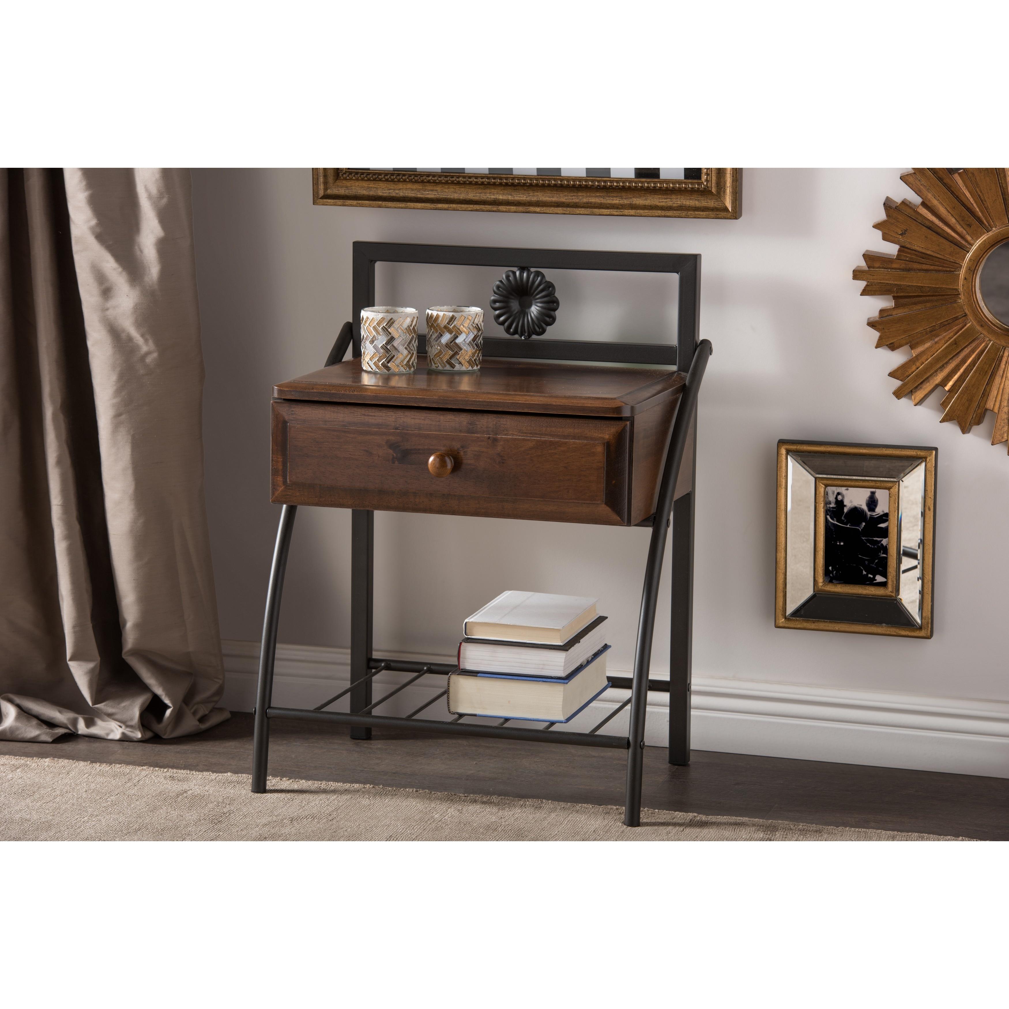 Baxton Studio Jevenci Vintage Antique Dark Bronze Metal And Walnut Wood 1 Drawer Nightstand