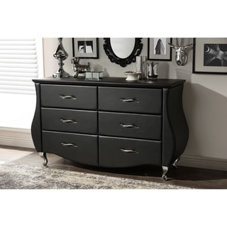 Contemporary Black Faux Leather 6-Drawer Dresser