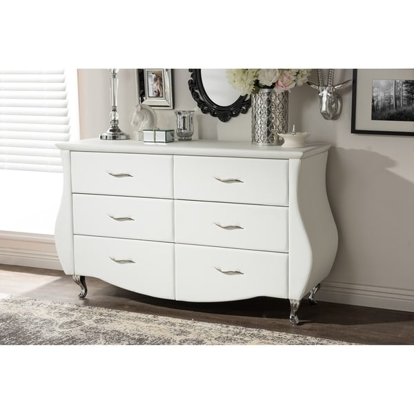 Contemporary White Faux Leather 6-Drawer Dresser