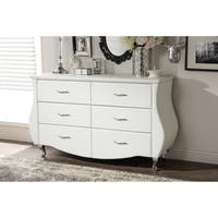 Baxton Studio Enzo Contemporary White Faux Leather 6-drawer Dresser