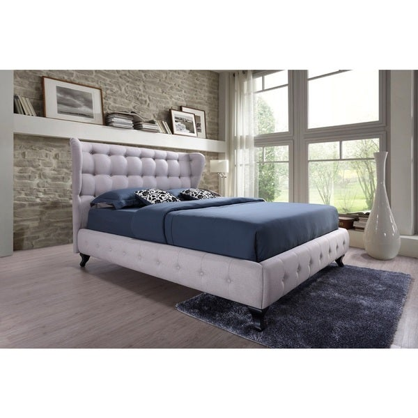 Bellissimo Modern and Contemporary Beige Fabric Upholstered Button-tufted Platfoform Bed with Black Classic Legs