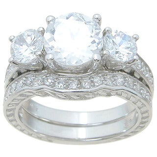 Sterling Silver High Polish Round Cut CZ 3.5 TCW Antique Style Three Stone Wedding Ring Set