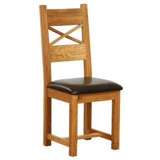 Vancouver Cross Back Dining Chair with Dark Brown Leather Seat (Set of 2)
