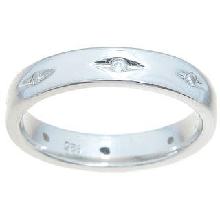Sterling Silver High Polish Round Cut CZ 4mm Thin CZ Accent Wedding Band