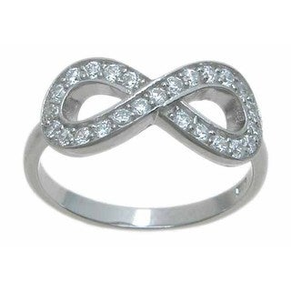 Sterling Silver High Polish Round Cut CZ Fashion Infinity Ring