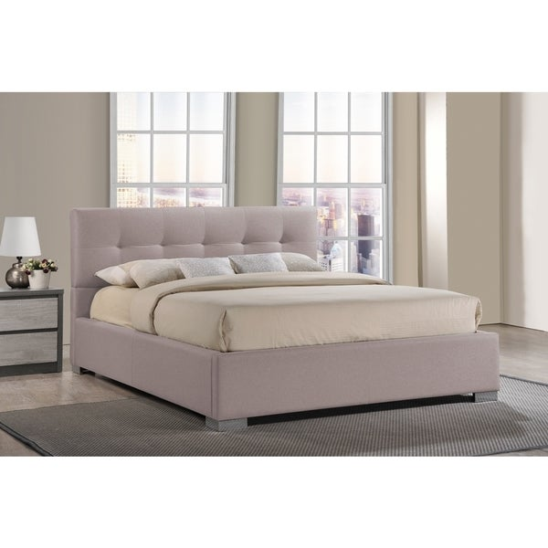 Regata Modern and Contemporary Beige Fabric Upholstered Platform Bed - Free Shipping Today ...