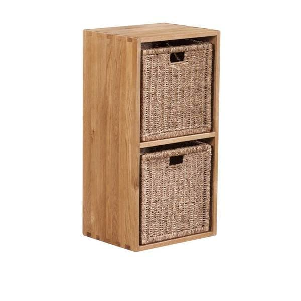 Vancouver Solid Oak Cube with Two  Jute Baskets - Free Shipping