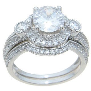 Sterling Silver High Polish Round Cut CZ Halo Setting 2.5 TCW Vintage Style Wedding Ring Set