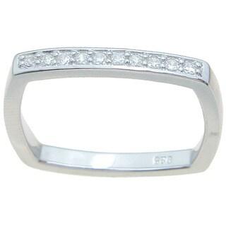 Sterling Silver High Polish Round Cut CZ Square Shape Thin 2.5 mm Wedding Band