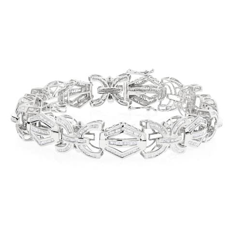 Luxurman 14k White Gold Men's 8ct TDW Baguette Diamond Bracelet (H-I, SI1-SI2)