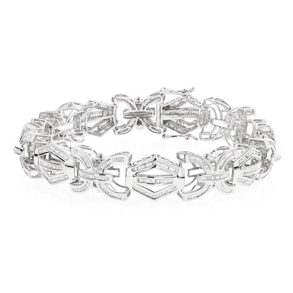 Luxurman 14k White Gold Men S 8ct Tdw Baguette Diamond Bracelet H I Si1 Si2