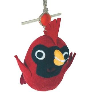 Handmade Global Crafts Wild Woolies Baby Cardinal Felt Birdhouse (Nepal)