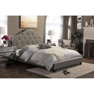 Anica Scalloped Grey Fabric Modern Platform Bed - King