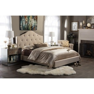 Anica Scalloped Beige Fabric Modern Platform Bed - King