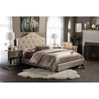 Anica Scalloped Beige Fabric Modern Platform Bed - King