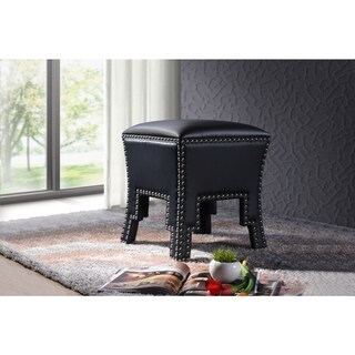 Baxton Studio Bouverie Contemporary Black Faux Leather Nailhead Ottoman Stool