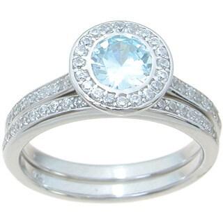 Sterling Silver High Polish Round Cut Topaz CZ Halo Setting 1 TCW Modern Style Wedding Ring Set