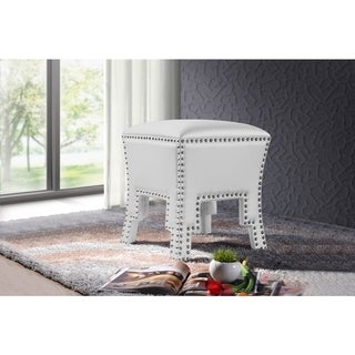 Baxton Studio Bouverie Contemporary White Faux Leather Nailhead Ottoman Stool