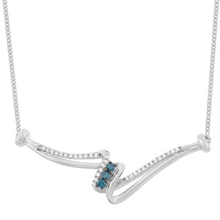 Sterling Silver 1/4ct TDW Blue and White Diamonds East West Necklace