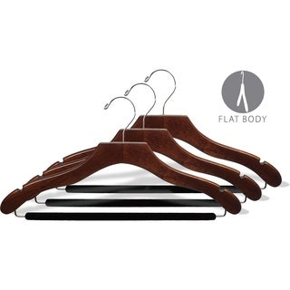 The Great American Hanger Company Wavy Walnut Suit Hanger w/ Non-Slip bar & Notches box of 100