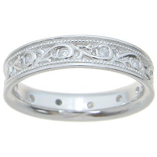 Sterling Silver Unisex High Polish Rhodium Finish 4.5mm Round Cut CZ 1/4 TCW Unique Textured Beveled Wedding Band