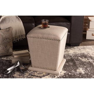 Baxton Studio Beverly Contemporary Beige Linen Upholstered Nailhead Ottoman Stool