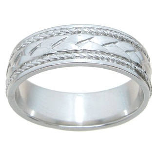 Sterling Silver Unisex High Polish Rhodium Finish 6mm Cross Over Style Beveled Wedding Band