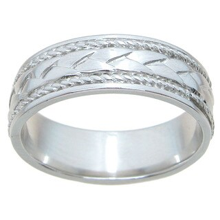 Sterling Silver Unisex High Polish Rhodium Finish 6mm Cross Over Style Beveled Wedding Band
