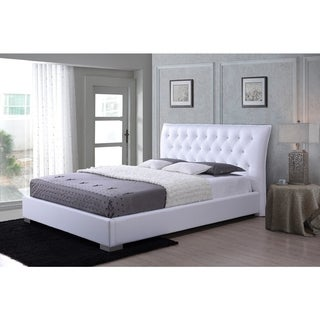 Marina Modern and Contemporary White Faux Leather Platform Bed with Crystal Buttons