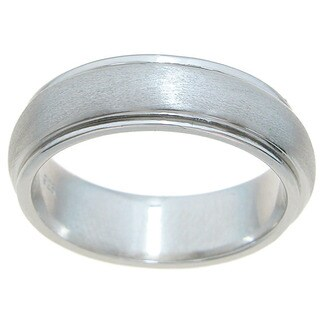Sterling Silver Unisex Ventian Finish 6mm Spinning Beveled Wedding Band