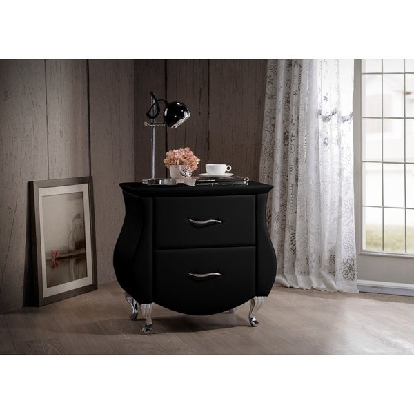 Baxton Studio Erin Contemporary Black Faux Leather Upholstered Nightstand