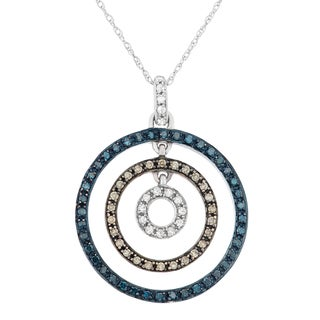 10k White and Rose Gold 2/5ct TDW Diamond Concentric Circle Pendant Necklace
