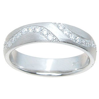 Sterling Silver Venetian Finish 4.5 mm Round Cut CZ Textured Accent Wedding Band