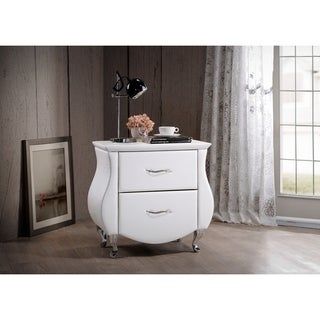 Erin Modern and Contemporary White Faux Leather Upholstered Nightstand