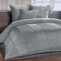 Chauran Cerisse Mist Grey Sateen Ambi Ridge Pleated Duvet Cover