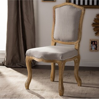 Baxton Studio Chateauneuf French Vintage Cottage Weathered Oak Beige Linen Upholstered Dining Side Chair