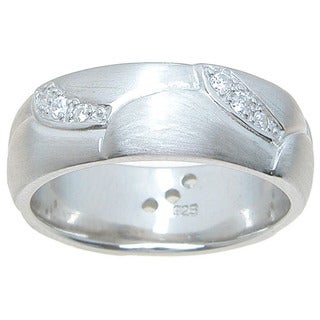 Sterling Silver Venetian Finish Round Cut CZ Accent 7mm Wedding Band