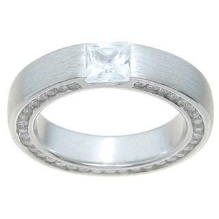 Sterling Silver Venitian Finish Princess Cut CZ 2.5 TCW Wedding Band