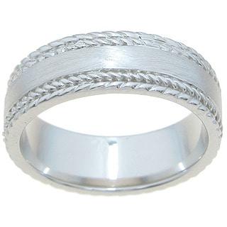 Sterling Silver Venetian Finish 6mm Texture Beveled Men's Wedding Band