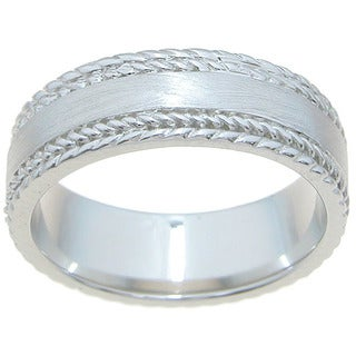 Sterling Silver Venetian Finish 6mm Texture Beveled Men's Wedding Band