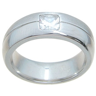 Sterling Silver Venetian Finish 7mm Princess Cut Accent CZ Wedding Band