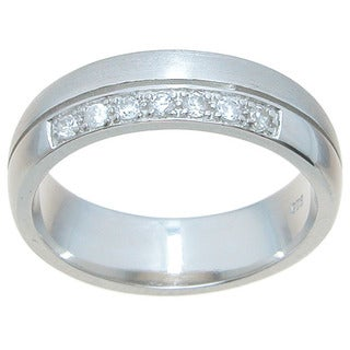 Sterling Silver Venetian Finish Round Cut CZ 6mm Wedding Band