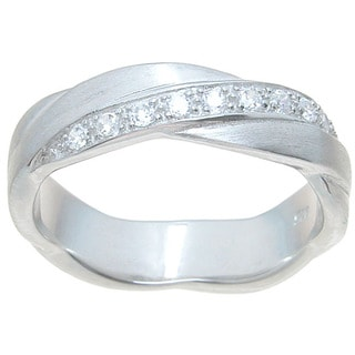 Sterling Silver Venetian Polish Round Cut CZ 5mm Interwined Cross Over Wedding Band